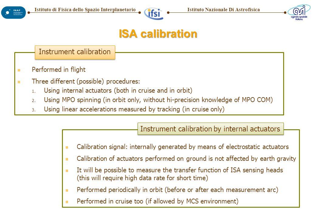 Istituto Nazionale Di AstrofisicaIstituto di Fisica dello Spazio Interplanetario ISA calibration Performed in flight Three different (possible) procedures: 1.