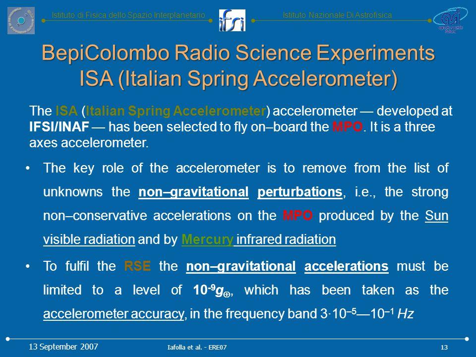 Istituto Nazionale Di AstrofisicaIstituto di Fisica dello Spazio Interplanetario The ISA (Italian Spring Accelerometer) accelerometer developed at IFSI/INAF has been selected to fly on–board the MPO.
