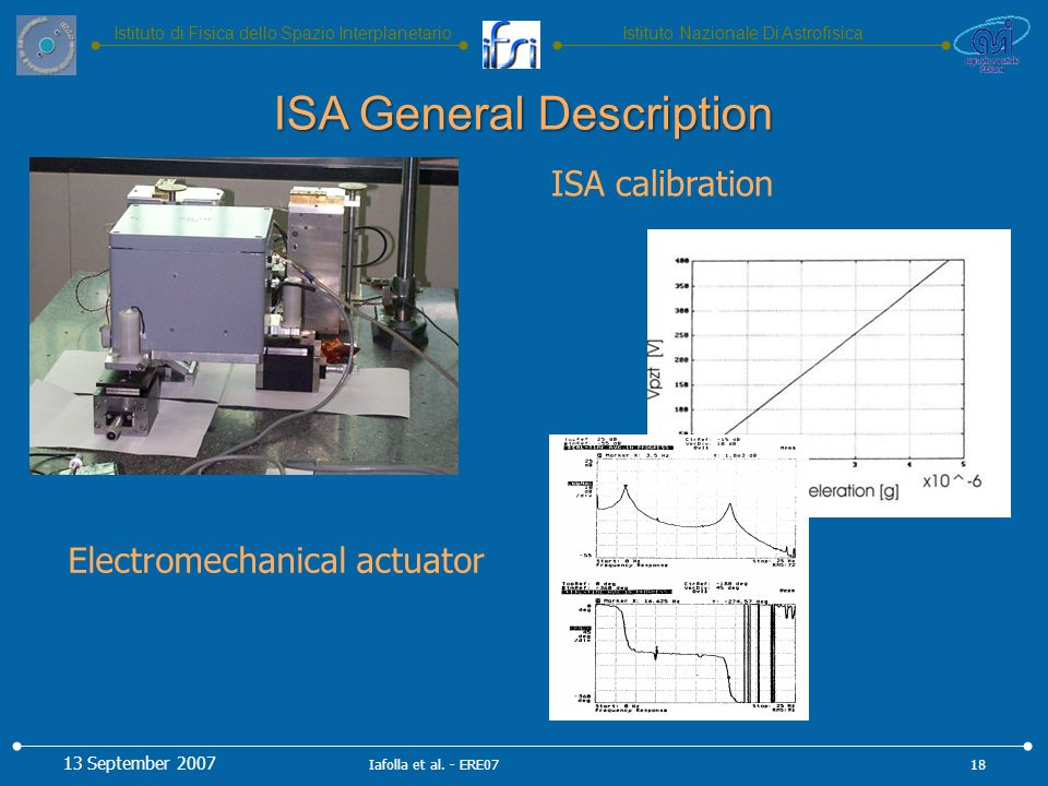 Istituto Nazionale Di AstrofisicaIstituto di Fisica dello Spazio Interplanetario Electromechanical actuator ISA calibration ISA General Description 13