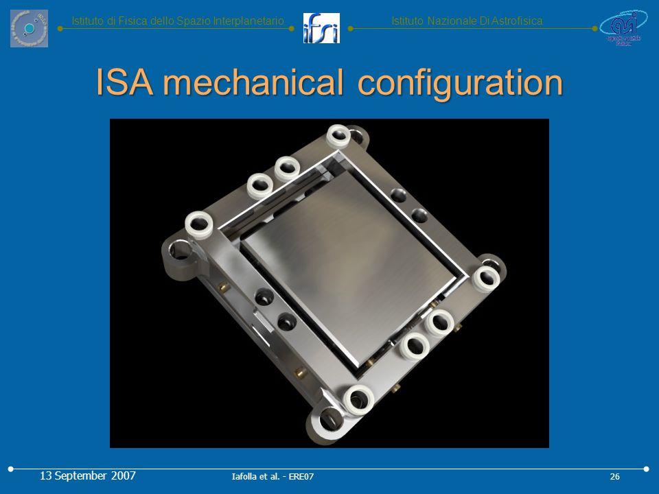 Istituto Nazionale Di AstrofisicaIstituto di Fisica dello Spazio Interplanetario ISA mechanical configuration 13 September 2007 26Iafolla et al.