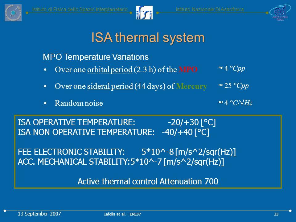 Istituto Nazionale Di AstrofisicaIstituto di Fisica dello Spazio Interplanetario ISA OPERATIVE TEMPERATURE: -20/+30 [°C] ISA NON OPERATIVE TEMPERATURE: -40/+40 [°C] FEE ELECTRONIC STABILITY: 5*10^-8 [m/s^2/sqr(Hz)] ACC.