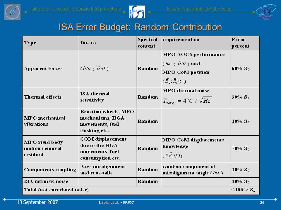 Istituto Nazionale Di AstrofisicaIstituto di Fisica dello Spazio Interplanetario ISA Error Budget: Random Contribution 13 September 2007 36Iafolla et al.
