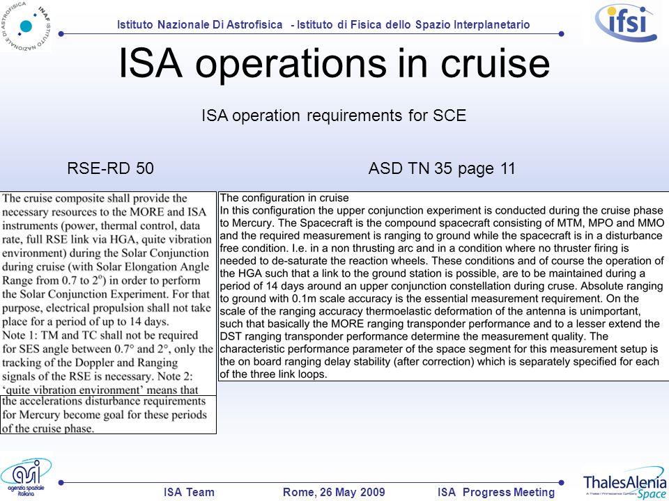 Istituto Nazionale Di Astrofisica - Istituto di Fisica dello Spazio Interplanetario ISA TeamISA Progress MeetingRome, 26 May 2009 ISA operations in cruise RSE-RD 50 ASD TN 35 page 11 ISA operation requirements for SCE
