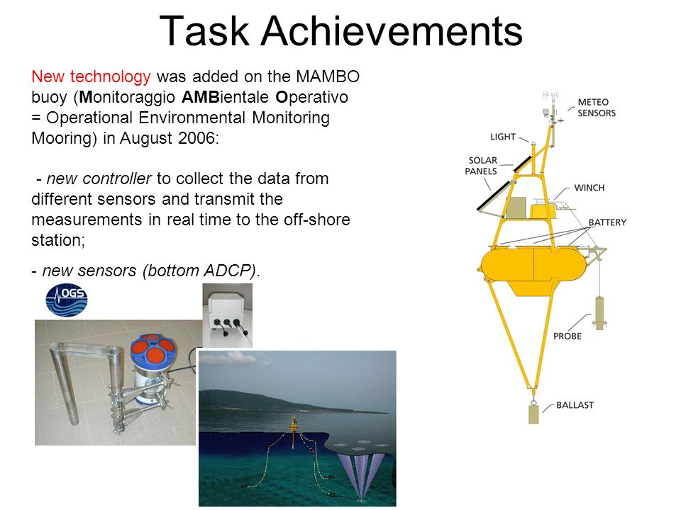 Task Achievements New technology was added on the MAMBO buoy (Monitoraggio AMBientale Operativo = Operational Environmental Monitoring Mooring) in August 2006: - new controller to collect the data from different sensors and transmit the measurements in real time to the off-shore station; - new sensors (bottom ADCP).