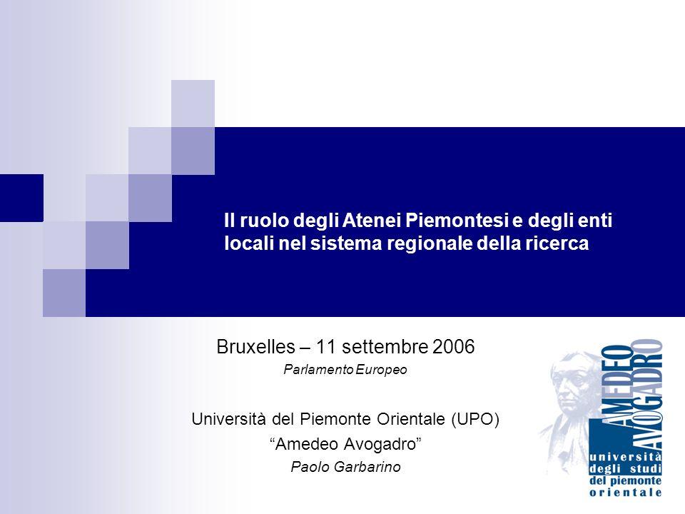 Il ruolo degli Atenei Piemontesi e degli enti locali nel sistema regionale della ricerca Bruxelles – 11 settembre 2006 Parlamento Europeo Università del Piemonte Orientale (UPO) Amedeo Avogadro Paolo Garbarino