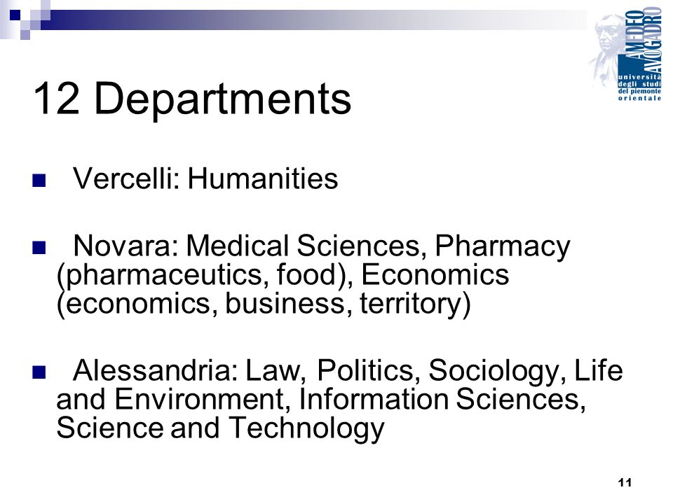 11 12 Departments Vercelli: Humanities Novara: Medical Sciences, Pharmacy (pharmaceutics, food), Economics (economics, business, territory) Alessandria: Law, Politics, Sociology, Life and Environment, Information Sciences, Science and Technology