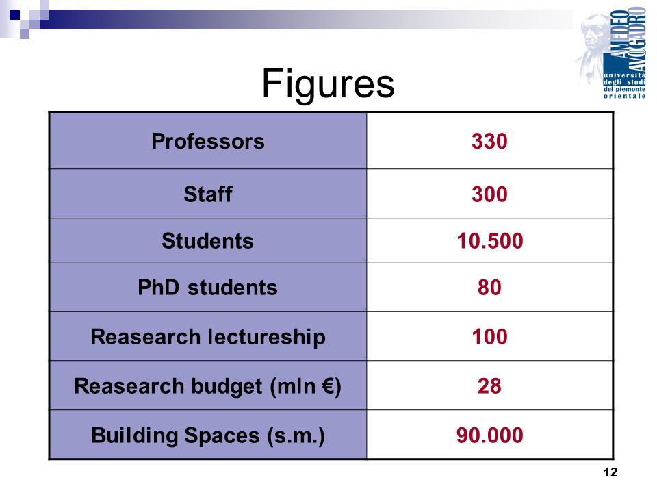 12 Professors330 Staff300 Students10.500 PhD students80 Reasearch lectureship100 Reasearch budget (mln )28 Building Spaces (s.m.)90.000 Figures