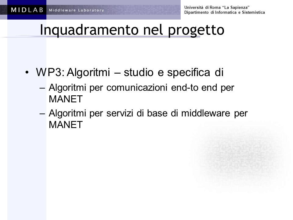 Università di Roma La Sapienza Dipartimento di Informatica e Sistemistica Inquadramento nel progetto WP3: Algoritmi – studio e specifica di –Algoritmi per comunicazioni end-to end per MANET –Algoritmi per servizi di base di middleware per MANET