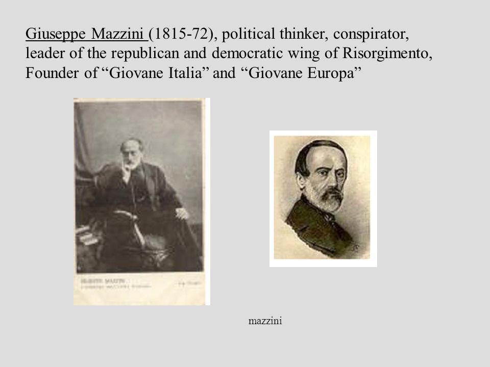 Giuseppe Mazzini (1815-72), political thinker, conspirator, leader of the republican and democratic wing of Risorgimento, Founder of Giovane Italia and Giovane Europa mazzini