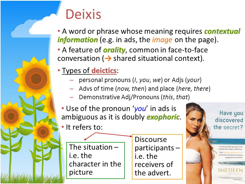 Deixis contextual information A word or phrase whose meaning requires contextual information (e.g. in ads, the image on the page). orality A feature o