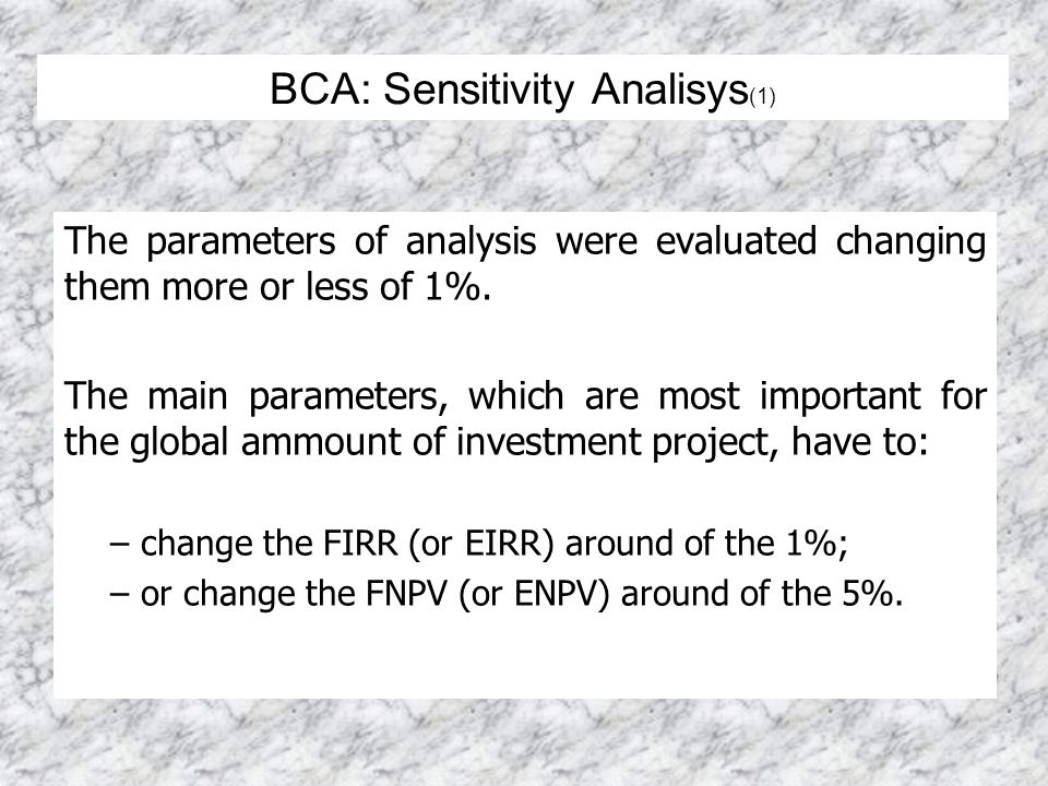 The parameters of analysis were evaluated changing them more or less of 1%. The main parameters, which are most important for the global ammount of in