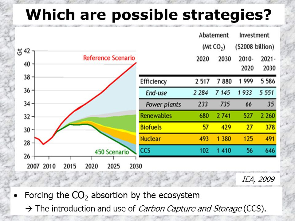 Which are possible strategies? Forcing the CO 2 absortion by the ecosystem The introduction and use of Carbon Capture and Storage (CCS). IEA, 2009