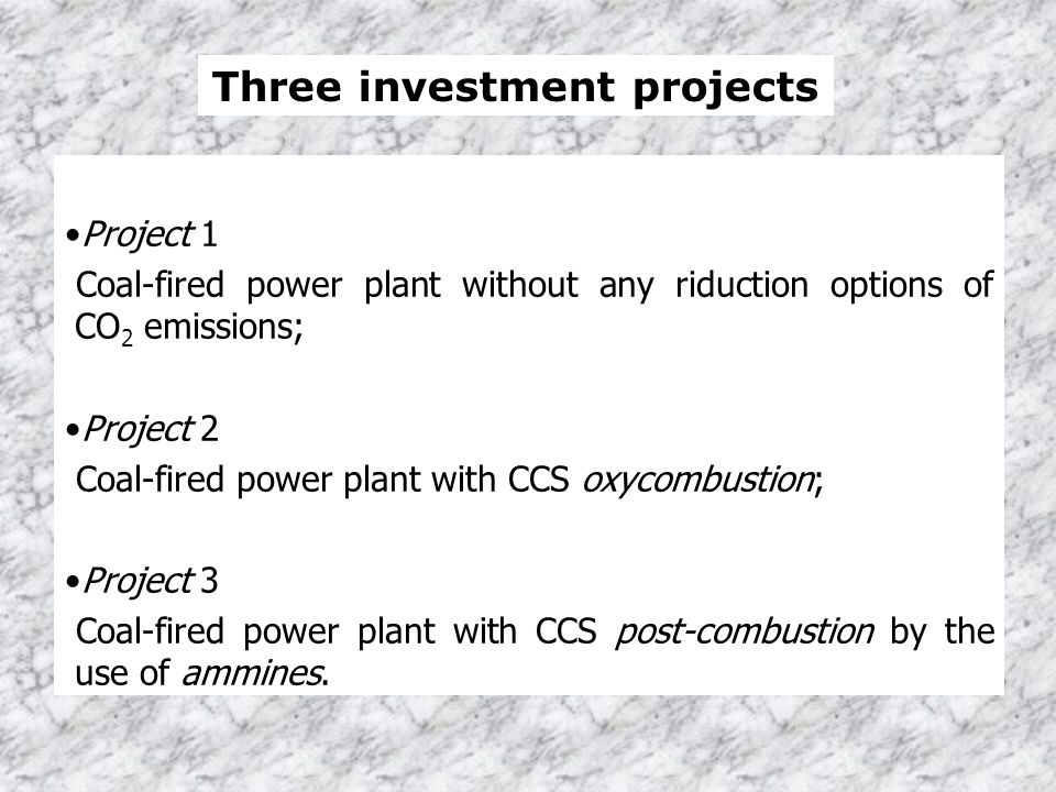 Project 1 Coal-fired power plant without any riduction options of CO 2 emissions; Project 2 Coal-fired power plant with CCS oxycombustion; Project 3 C