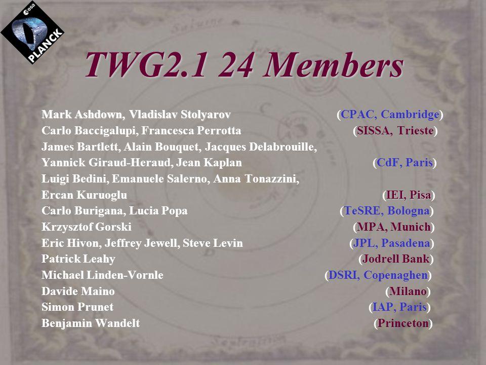 TWG2.1 24 Members Mark Ashdown, Vladislav Stolyarov Mark Ashdown, Vladislav Stolyarov (CPAC, Cambridge) Carlo Baccigalupi, Francesca Perrotta (SISSA,