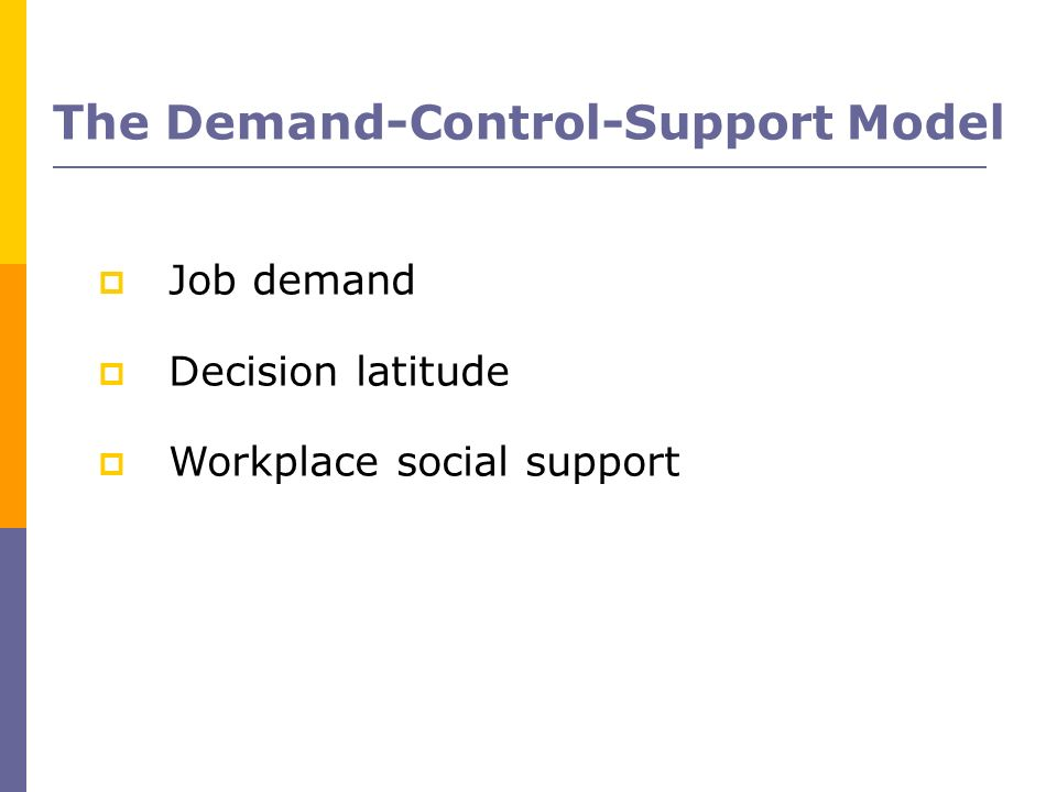 Job demand Decision latitude Workplace social support The Demand-Control-Support Model