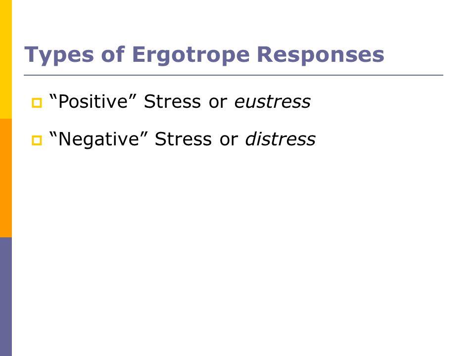 Types of Ergotrope Responses Positive Stress or eustress Negative Stress or distress
