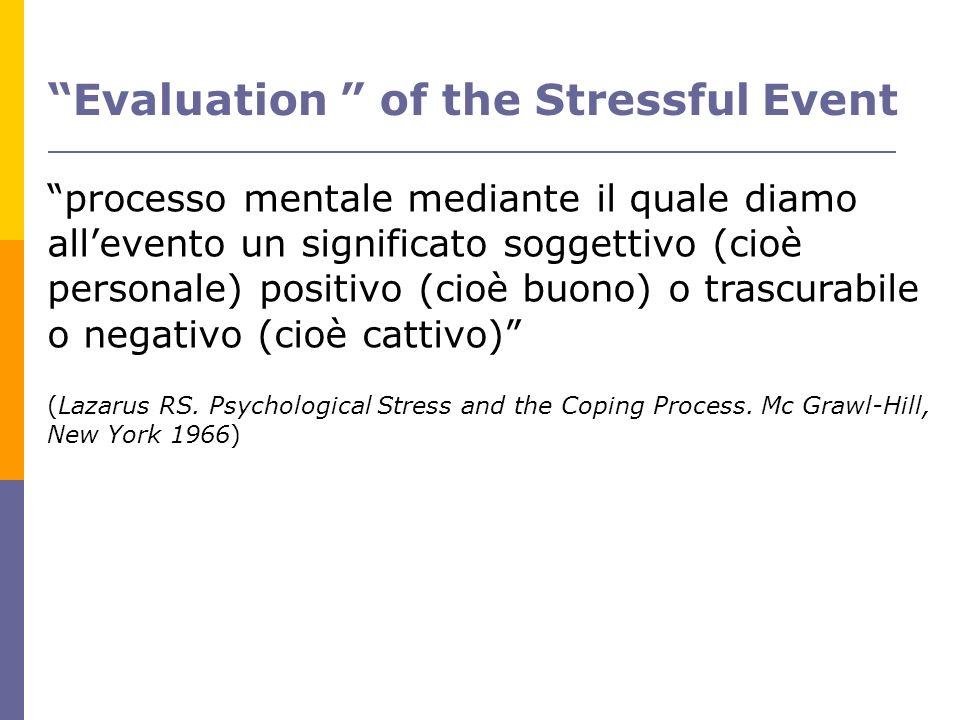Evaluation of the Stressful Event processo mentale mediante il quale diamo allevento un significato soggettivo (cioè personale) positivo (cioè buono)