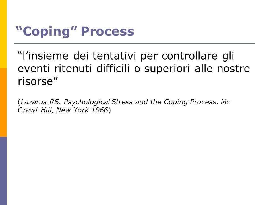 Coping Process linsieme dei tentativi per controllare gli eventi ritenuti difficili o superiori alle nostre risorse (Lazarus RS. Psychological Stress