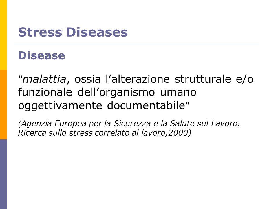 Stress Diseases Disease malattia, ossia lalterazione strutturale e/o funzionale dellorganismo umano oggettivamente documentabile (Agenzia Europea per