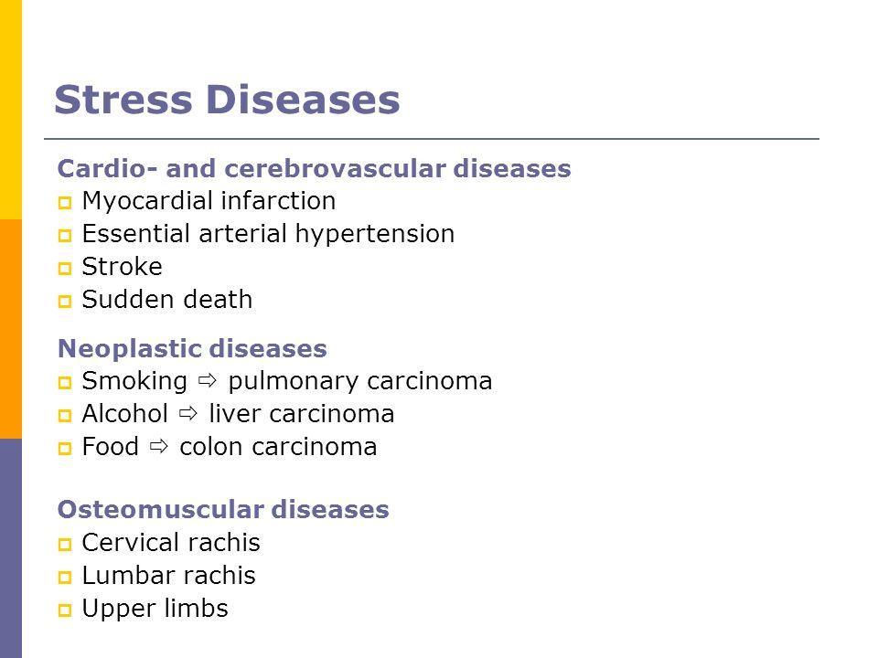 Cardio- and cerebrovascular diseases Myocardial infarction Essential arterial hypertension Stroke Sudden death Neoplastic diseases Smoking pulmonary c