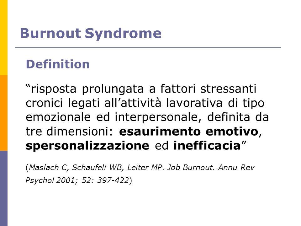Definition risposta prolungata a fattori stressanti cronici legati allattività lavorativa di tipo emozionale ed interpersonale, definita da tre dimens