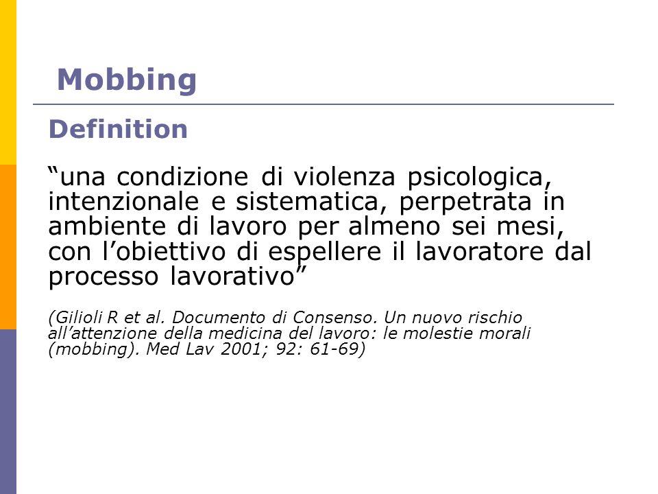 Mobbing Definition una condizione di violenza psicologica, intenzionale e sistematica, perpetrata in ambiente di lavoro per almeno sei mesi, con lobie