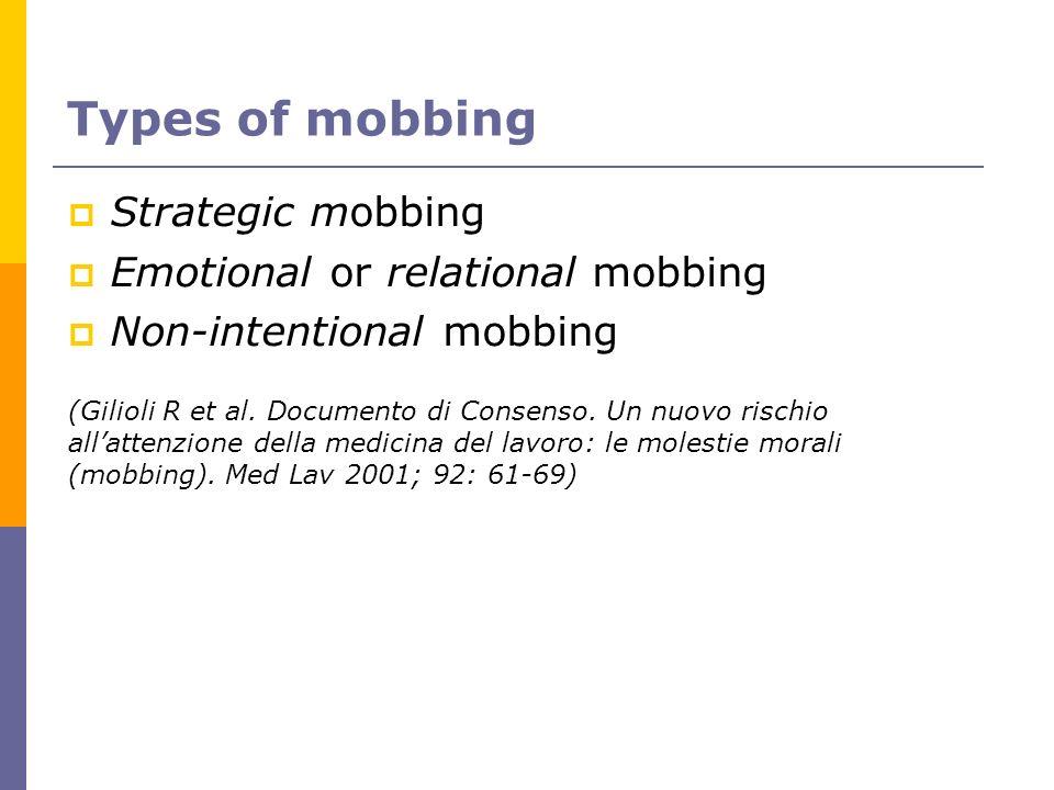 Types of mobbing Strategic mobbing Emotional or relational mobbing Non-intentional mobbing (Gilioli R et al. Documento di Consenso. Un nuovo rischio a