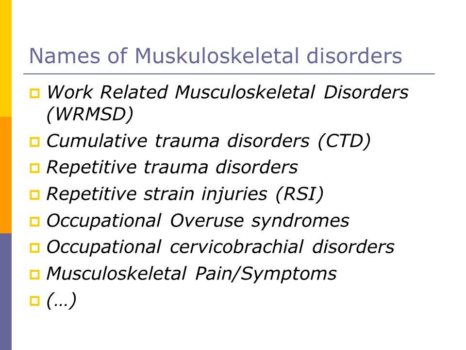 Names of Muskuloskeletal disorders Work Related Musculoskeletal Disorders (WRMSD) Cumulative trauma disorders (CTD) Repetitive trauma disorders Repeti
