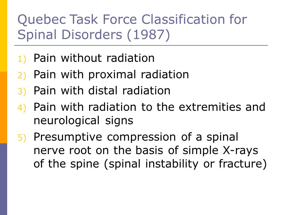 Quebec Task Force Classification for Spinal Disorders (1987) 1) Pain without radiation 2) Pain with proximal radiation 3) Pain with distal radiation 4