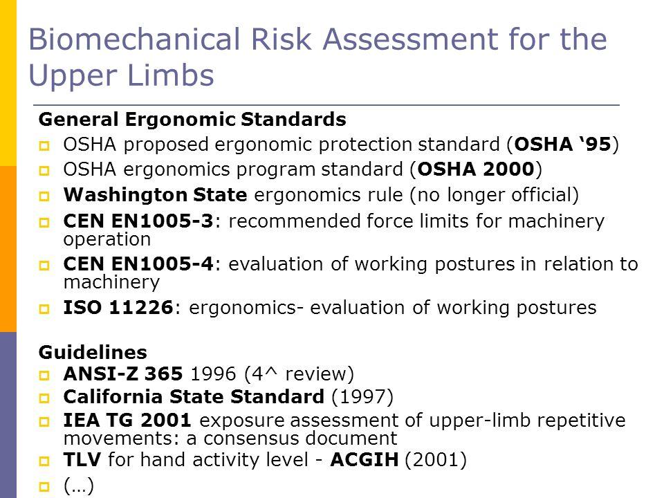 Biomechanical Risk Assessment for the Upper Limbs General Ergonomic Standards OSHA proposed ergonomic protection standard (OSHA 95) OSHA ergonomics pr