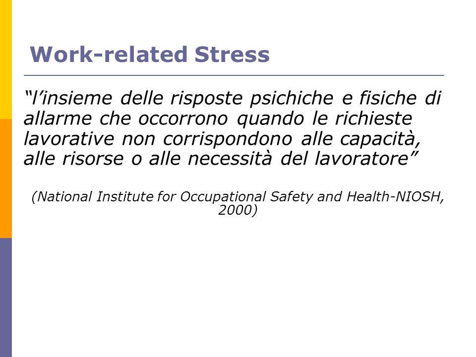 Work-related Stress linsieme delle risposte psichiche e fisiche di allarme che occorrono quando le richieste lavorative non corrispondono alle capacit