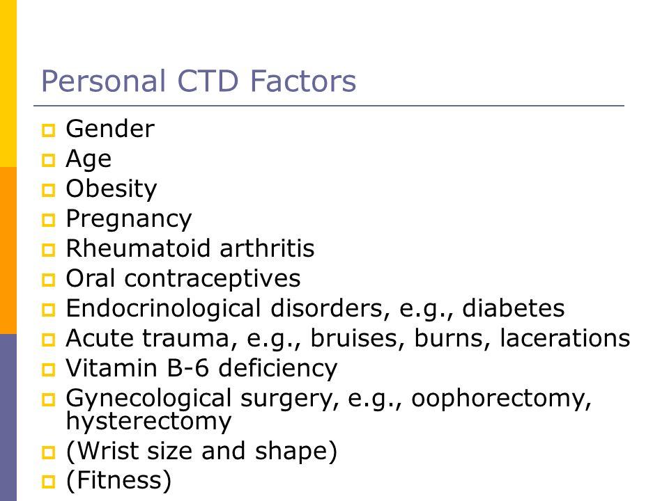 Personal CTD Factors Gender Age Obesity Pregnancy Rheumatoid arthritis Oral contraceptives Endocrinological disorders, e.g., diabetes Acute trauma, e.