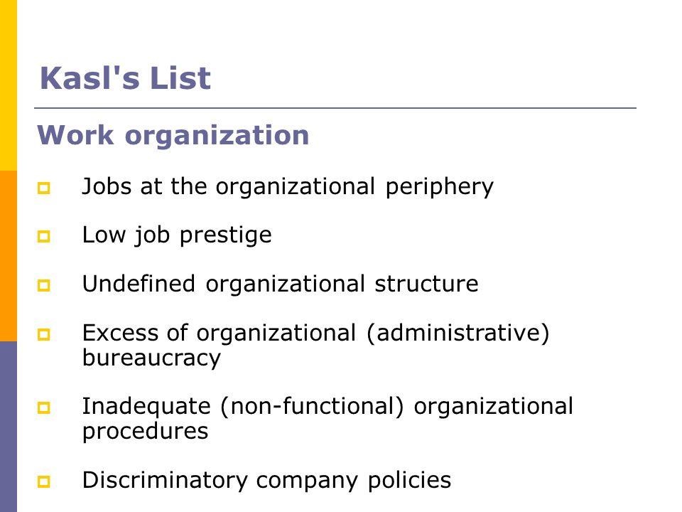 Work organization Jobs at the organizational periphery Low job prestige Undefined organizational structure Excess of organizational (administrative) b