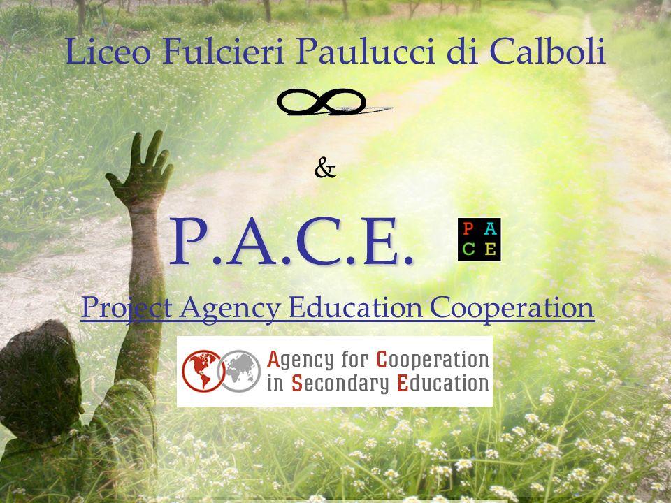 & P.A.C.E. P.A.C.E. Project Agency Education Cooperation Liceo Fulcieri Paulucci di Calboli