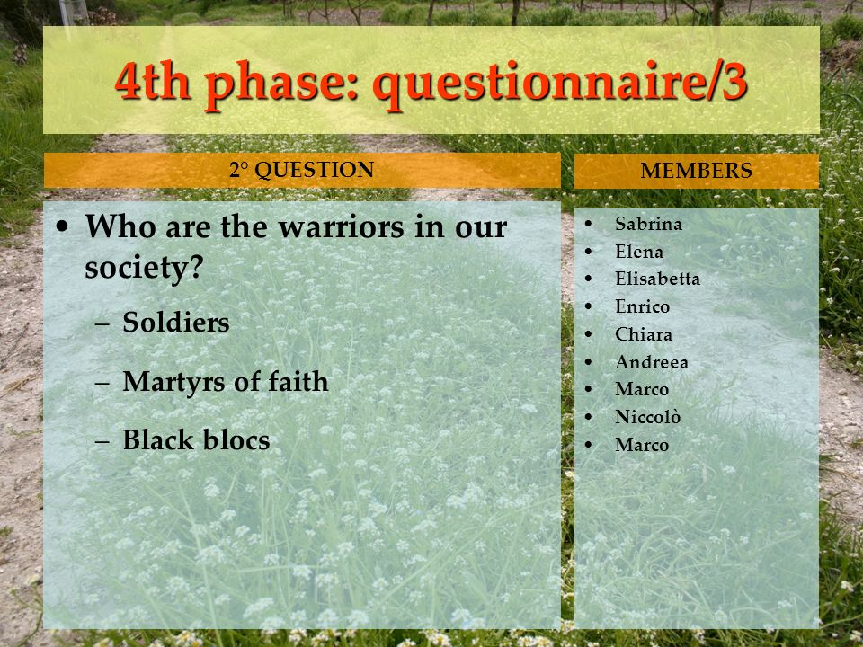 4th phase: questionnaire/3 Who are the warriors in our society? –Soldiers –Martyrs of faith –Black blocs Sabrina Elena Elisabetta Enrico Chiara Andree