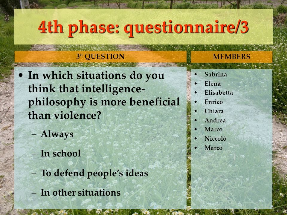 4th phase: questionnaire/3 In which situations do you think that intelligence- philosophy is more beneficial than violence.
