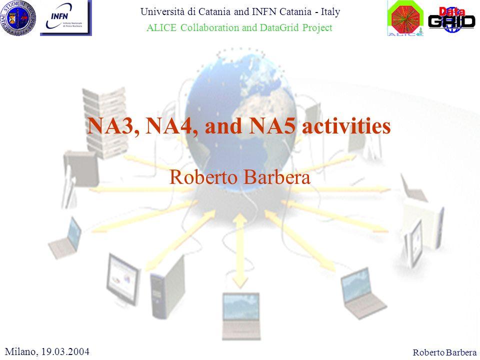 CHEP 2000, 10.02.2000Roberto Barbera NA3, NA4, and NA5 activities Milano, 19.03.2004 Università di Catania and INFN Catania - Italy ALICE Collaboration and DataGrid Project