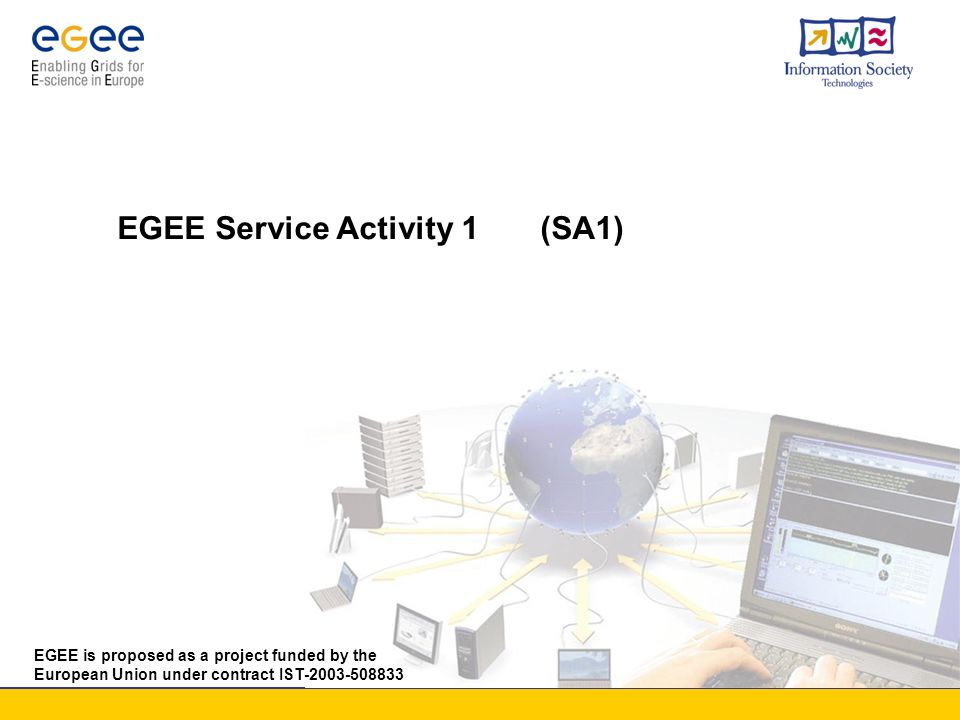 EGEE is proposed as a project funded by the European Union under contract IST EGEE Service Activity 1 (SA1)