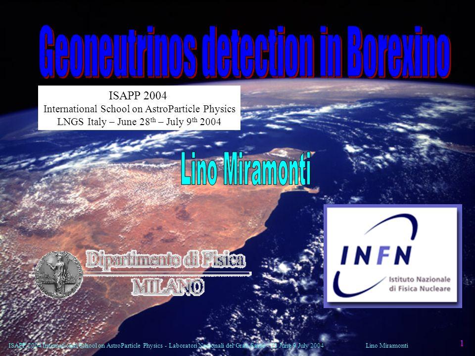 ISAPP 2004 International School on AstroParticle Physics - Laboratori Nazionali del Gran Sasso - 28 June 9 July 2004Lino Miramonti 1 ISAPP 2004 Intern