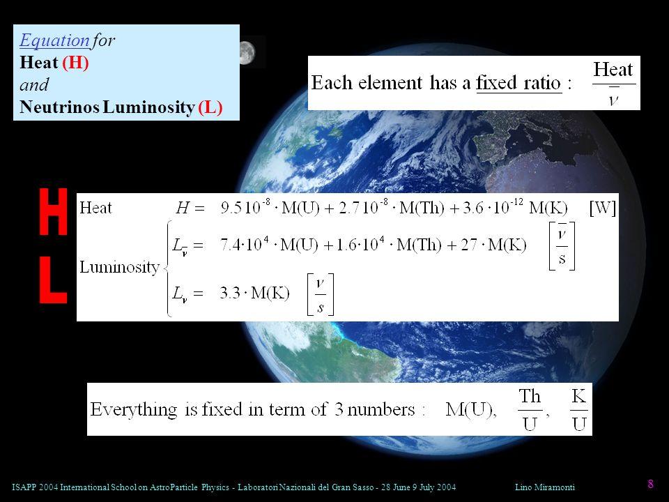 ISAPP 2004 International School on AstroParticle Physics - Laboratori Nazionali del Gran Sasso - 28 June 9 July 2004Lino Miramonti 8 Equation for Heat