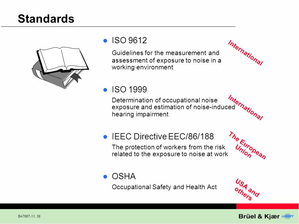 BA7667-11, 38 Standards ISO 9612 Guidelines for the measurement and assessment of exposure to noise in a working environment ISO 1999 Determination of