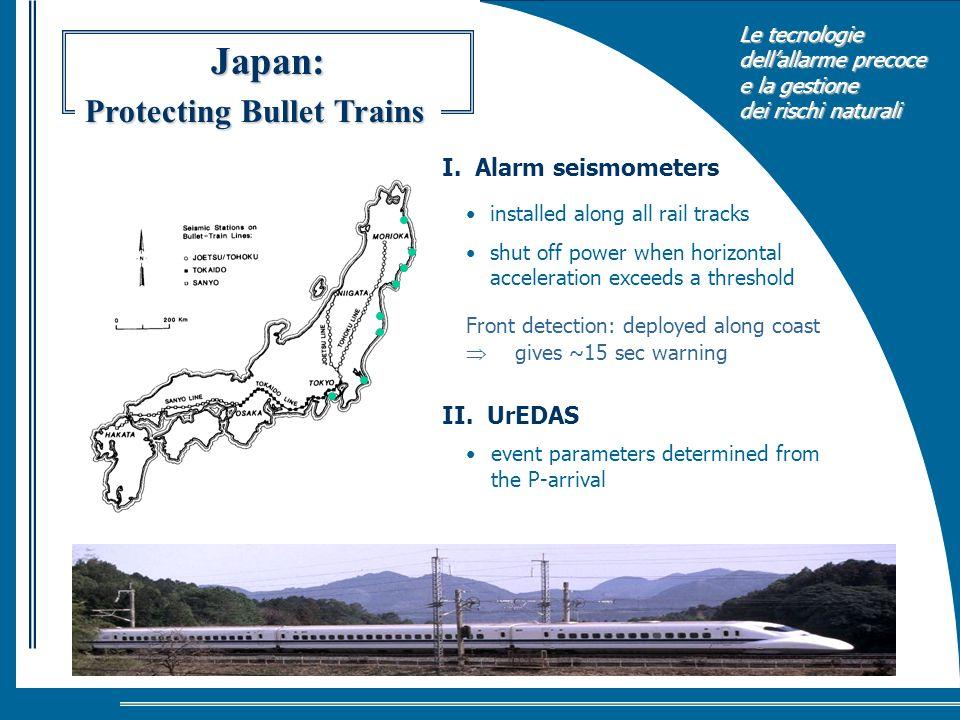Le tecnologie dellallarme precoce e la gestione dei rischi naturali Japan: installed along all rail tracks shut off power when horizontal acceleration