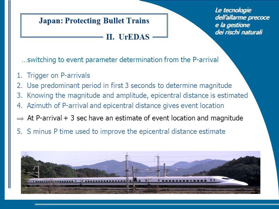 Le tecnologie dellallarme precoce e la gestione dei rischi naturali Japan: Protecting Bullet Trains 1. Trigger on P-arrivals 2. Use predominant period