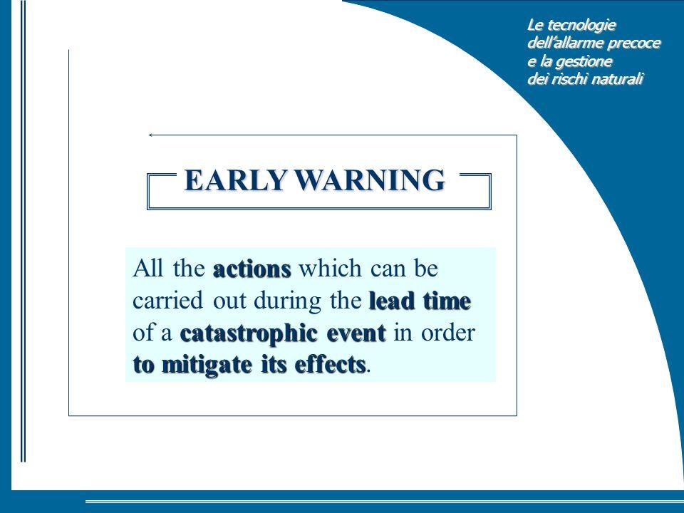 Le tecnologie dellallarme precoce e la gestione dei rischi naturali actions lead time catastrophic event to mitigate its effects All the actions which