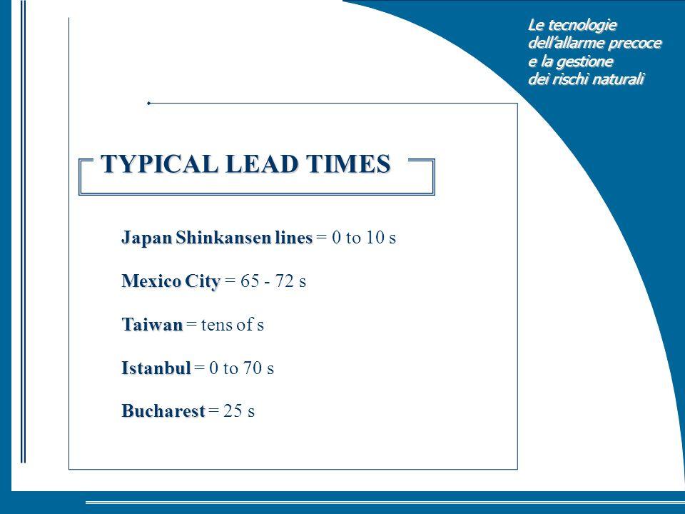 Le tecnologie dellallarme precoce e la gestione dei rischi naturali Japan Shinkansen lines Japan Shinkansen lines = 0 to 10 s Mexico City Mexico City