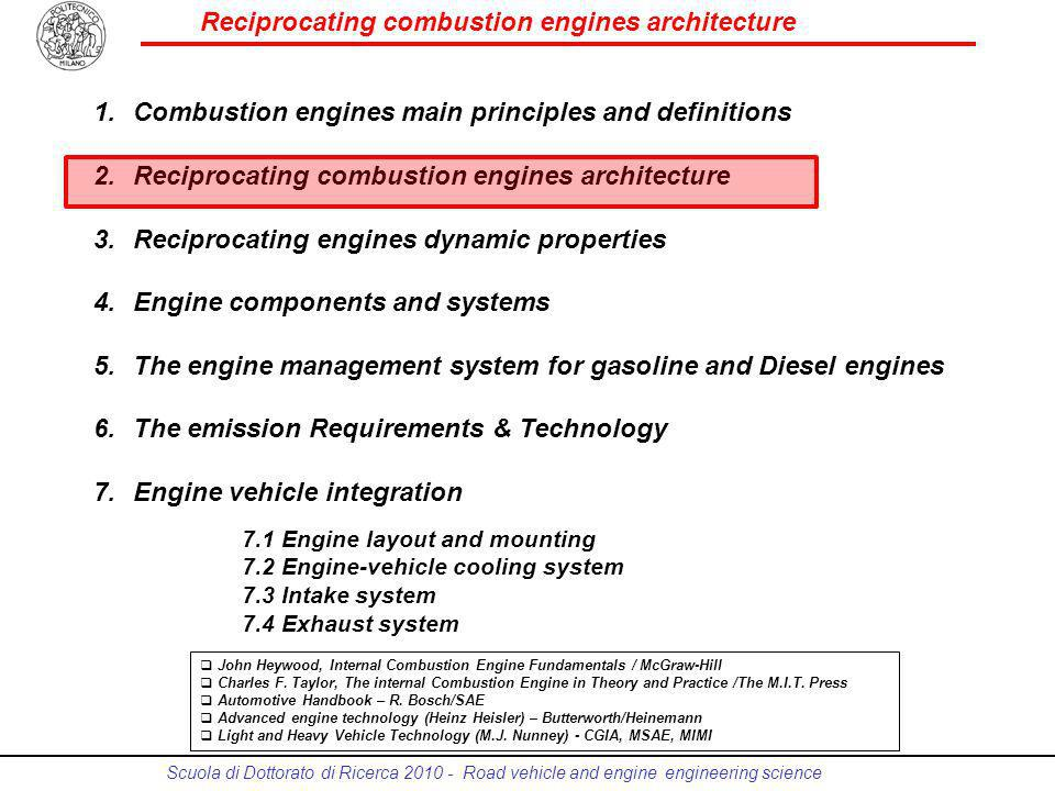 Reciprocating combustion engines architecture Scuola di Dottorato di Ricerca 2010 - Road vehicle and engine engineering science 2 Architecture configuration In-line engine The cylinders are arranged consecutively in a single plane V-engine The cylinders are arranged in two planes in a V configuration Radial engine The cylinders are arranged radially in one or more planes Opposed-cylinder (boxer) engine The cylinders are horizontally opposed