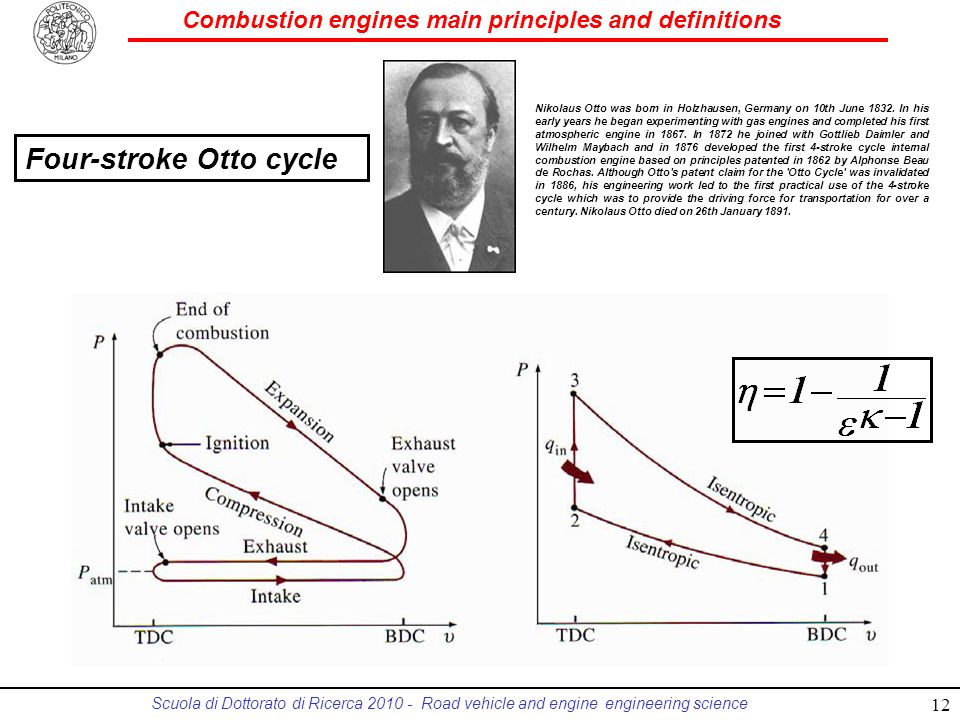 Combustion engines main principles and definitions Scuola di Dottorato di Ricerca 2010 - Road vehicle and engine engineering science Nikolaus Otto was