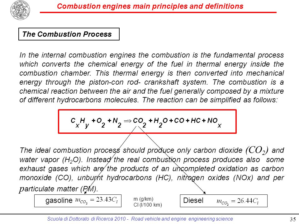 Combustion engines main principles and definitions Scuola di Dottorato di Ricerca 2010 - Road vehicle and engine engineering science In the internal combustion engines the combustion is the fundamental process which converts the chemical energy of the fuel in thermal energy inside the combustion chamber.