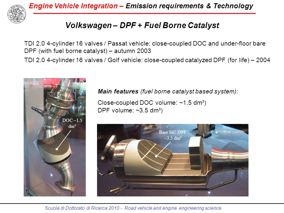 Engine Vehicle Integration – Emission requirements & Technology Scuola di Dottorato di Ricerca 2010 - Road vehicle and engine engineering science Volk