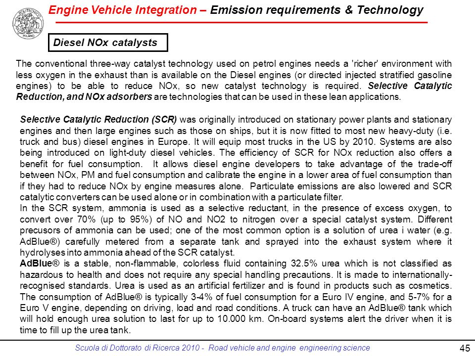 Engine Vehicle Integration – Emission requirements & Technology Scuola di Dottorato di Ricerca 2010 - Road vehicle and engine engineering science 45 T